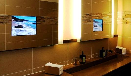 Існують також телевізори, що монтуються безпосередньо у дзеркало в ванній кімнаті