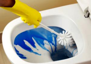 Нанесіть засіб для чищення на стінки унітазу - почекайте певний час і почистіть