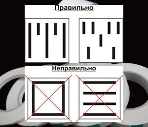 При закріпленні дзеркала за допомогою скотчу - важливе правильне наклеювання самого скотчу