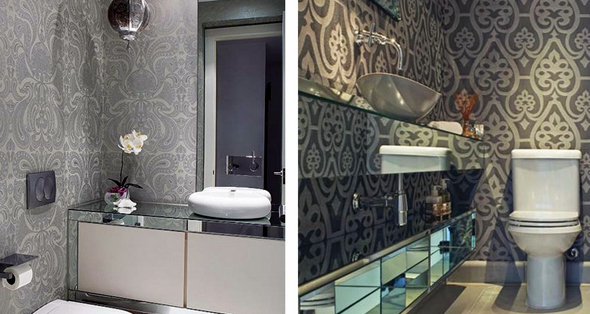 Варіант дизайну ванної кімнати, оздобленої шпалерами