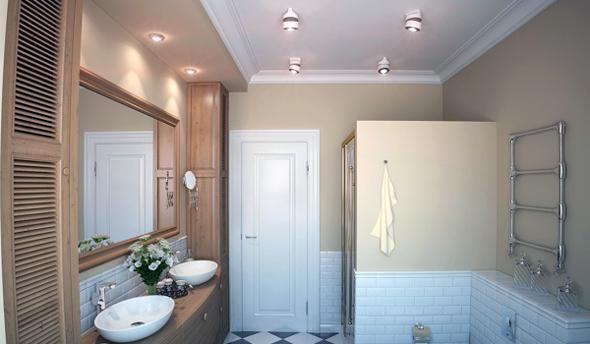 Щоб ванна кімната була рівномірно освітлена, доведеться прокладати декілька джерел світла.