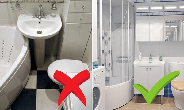 Між предметами у ванній повинно бути достатньо місця для маневрів